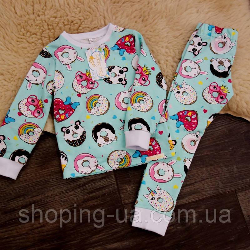 Детская теплая пижамка с начесом пончики Five Stars KD0403-116p