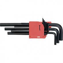 Набір подовжених ключів імбусових HEX 1.5-10 мм, CrV, 9 шт, оксидовані, MTX