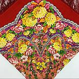 Восходящее солнце 1920-5, павлопосадский платок шерстяной  с шелковой бахромой, фото 5