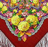 Восходящее солнце 1920-5, павлопосадский платок шерстяной  с шелковой бахромой, фото 4