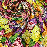Восходящее солнце 1920-5, павлопосадский платок шерстяной  с шелковой бахромой, фото 3