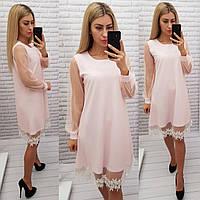 Платье с кружевом арт. 407, свободный крой, нежно-розовый