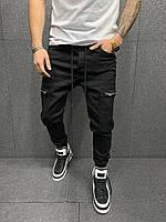 Мужские черные карго штаны Все Размеры, фото 1
