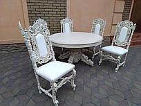 Комплект антикварный . Дуб. Стол раздвижной, стулья (6шт) Стулья обтянутые кожей.