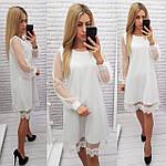Нарядное платье с кружевом арт. 407, свободный крой, белое