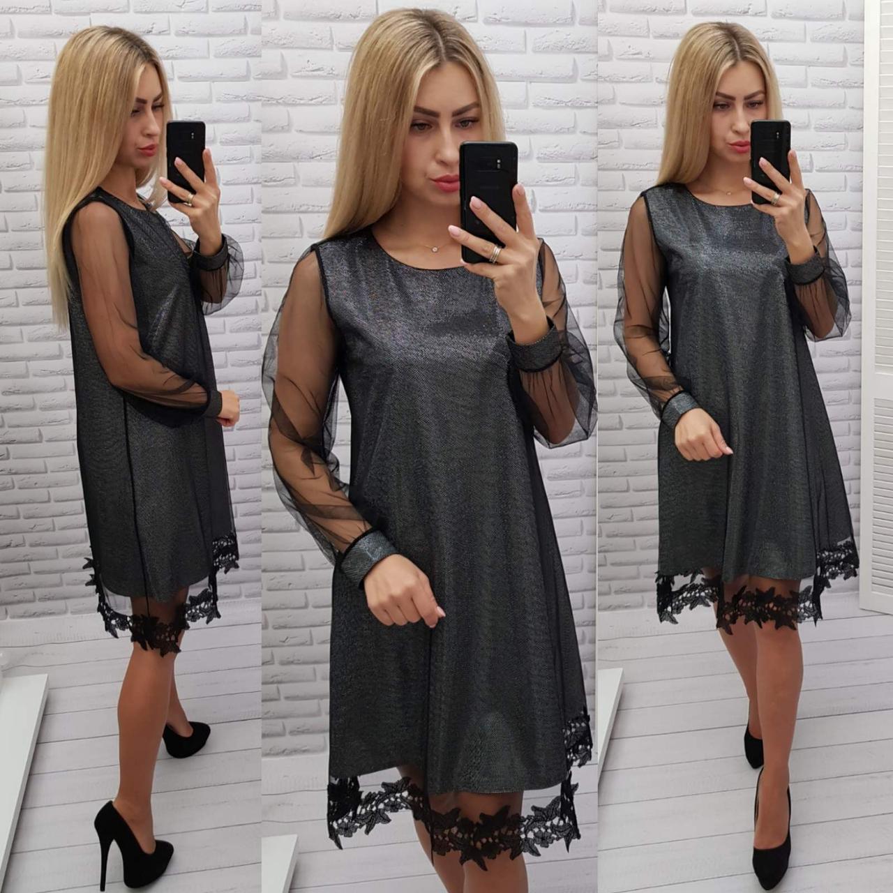 Нарядное платье с кружевом арт. 407, свободный крой, металлик