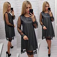 Нарядное платье с кружевом арт. 407, свободный крой, металлик, фото 1