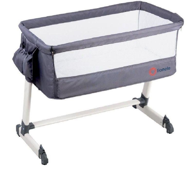 Приставная кроватка Lionelo Theo dark grey