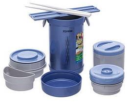 Набір для ланчу Zojirushi SL-NC09AA (4 контейнера + палички), синій