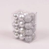 Набор пластиковых серебряных новогодних шаров 24 шт. D-3 см. 44404