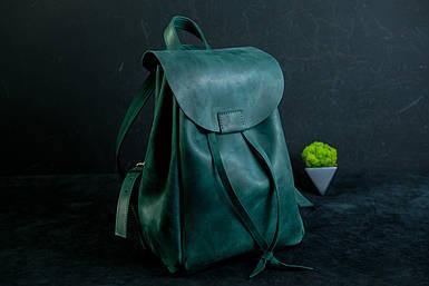 Кожаный рюкзак на затяжках с магнитом, размер средний Винтажная кожа цвет Зеленый
