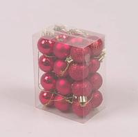 Набір пластикових червоних новорічних куль 24 шт. D-3 див. 44403