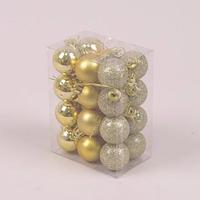 Набір пластикових золотих новорічних куль 24 шт. D-3 див. 44402