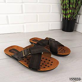 """Шлепанцы мужские, коричневые """"Raye"""" эко кожа, шлепки мужские, тапочки мужские, вьетнамки мужские, обувь летняя"""