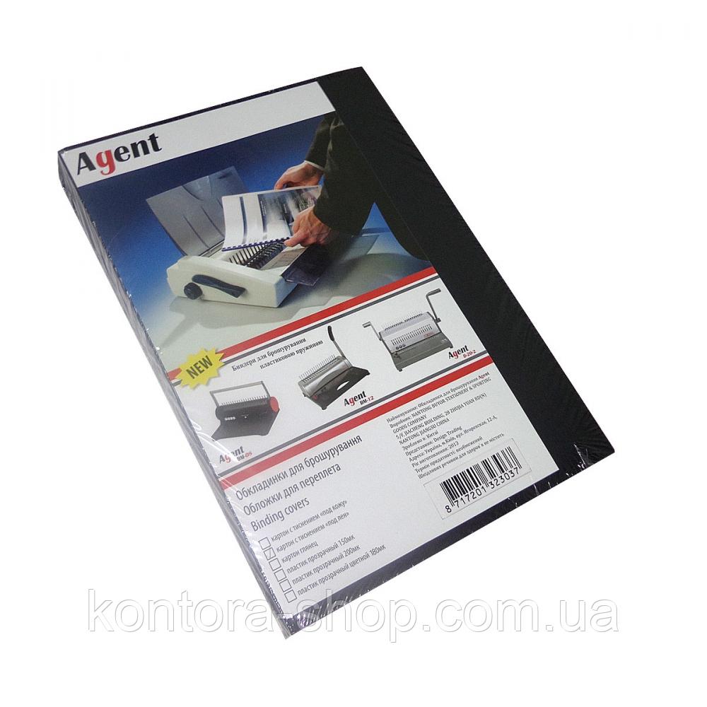 """Обложки картонные А4 250 г/м2 """"под лен"""" черные (100 штук)"""