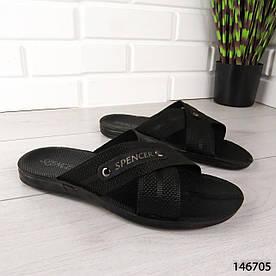 """Шлепанцы мужские, черные """"Pomesa"""" текстильные шлепки мужские, тапочки мужские, вьетнамки мужские, обувь летняя"""