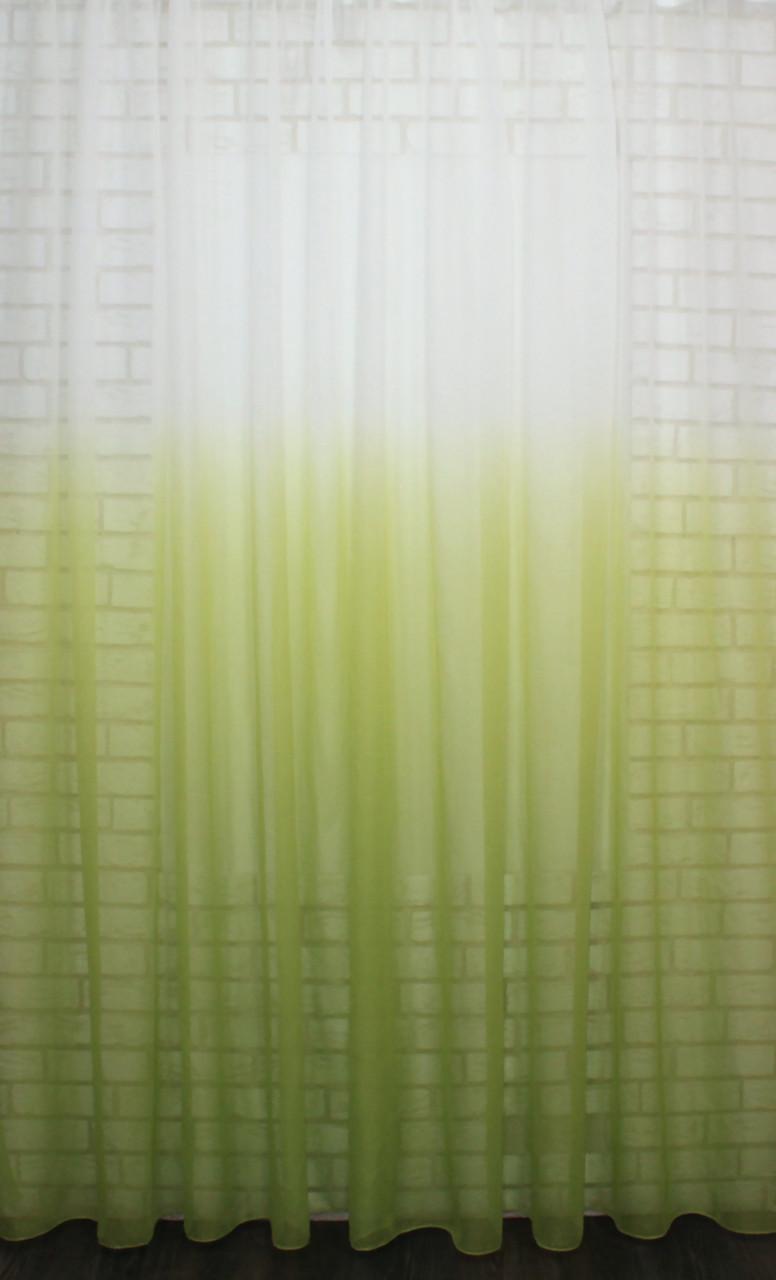 """Тюль растяжка """"Омбре"""" на батисте (под лён) с утяжелителем, цвет салатовый с белым 576т(6х2,6м) 40-333"""