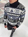 Свитер мужской с оленями теплый с подворотом под горло черный с белом Турция. Живое фото (мужская кофта), фото 2