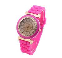 Силиконовые женские часы на руку черные Geneva. Стильные наручные часы для женщин с силиконовым ремешком