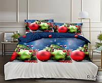 Двухспальное постельное белье новогодняя тематика из ранфорса с компаньоном R847