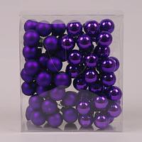 Кульки скляні 3 див. фіолетові (6 пучків-72 кульки) 40229
