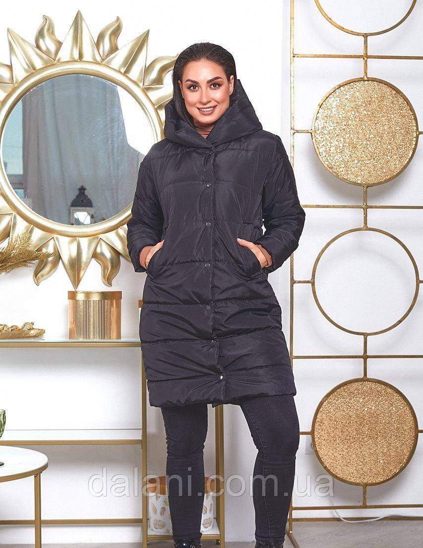 Женская дутая черная куртка с капюшоном