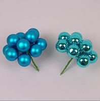 Кульки скляні 3 див. бірюзові (6 пучків-72 кульки) 40227