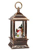 """Декоративный новогодний светильник фонарь со снегом внутри """"Snowman&Animals"""""""