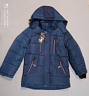 Зимняя темно-синяя курточка  на флисе для мальчика 140 рост, фото 1