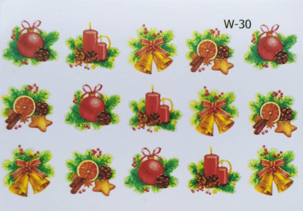 Водные наклейки (слайдер дизайн) Новогодний дизайн W-30