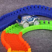 Детская гибкая игрушечная Дорога Magic Tracks 360 Mega Set | Светящаяся дорога с двумя машинками и мостом, фото 2