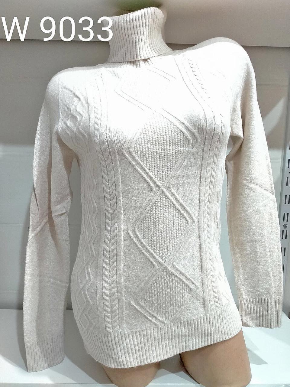 Однотонный свитер-гольф с трикотажными узорами 46-52 (в расцветках)
