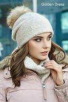 Женский зимний набор (шапка + шарф хомут)
