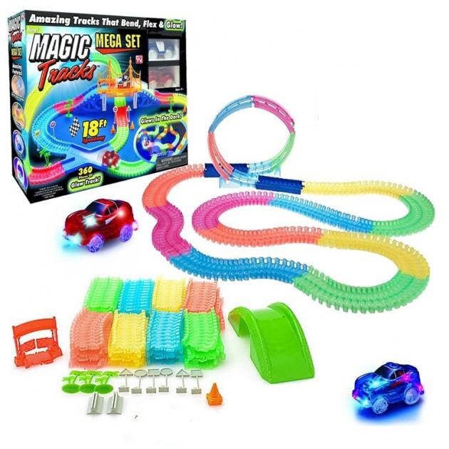 Детская гибкая игрушечная Дорога Magic Tracks 360 Mega Set | Светящаяся дорога с двумя машинками и мостом
