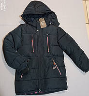Зимняя темно-синяя курточка  на флисе для мальчика 146, 152, 158, 164 рост, фото 1