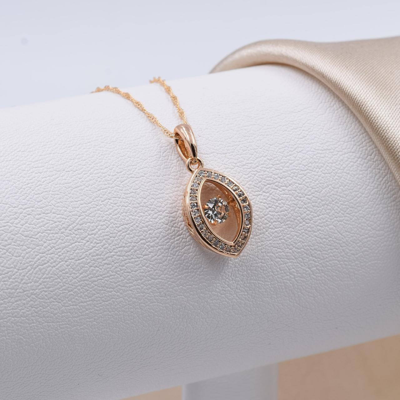 Колье Xuping 51980 цепочка длина 45 см + кулон 21х10 мм вес 2.1 г белые фианиты позолота 18К