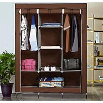 Складной тканевый шкаф, шкаф для одежды HCX Storage Wardrobe 88130 на 3 секции - КОРИЧНЕВЫЙ, фото 2