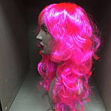 Парик длинный волнистый каскад розовый 50 см, фото 2
