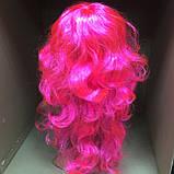 Парик длинный волнистый каскад розовый 50 см, фото 3