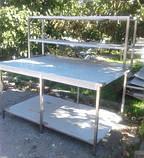 Стіл з надбудовою 2 ур. з бортом і 2 полицями 1100х600х850, фото 4