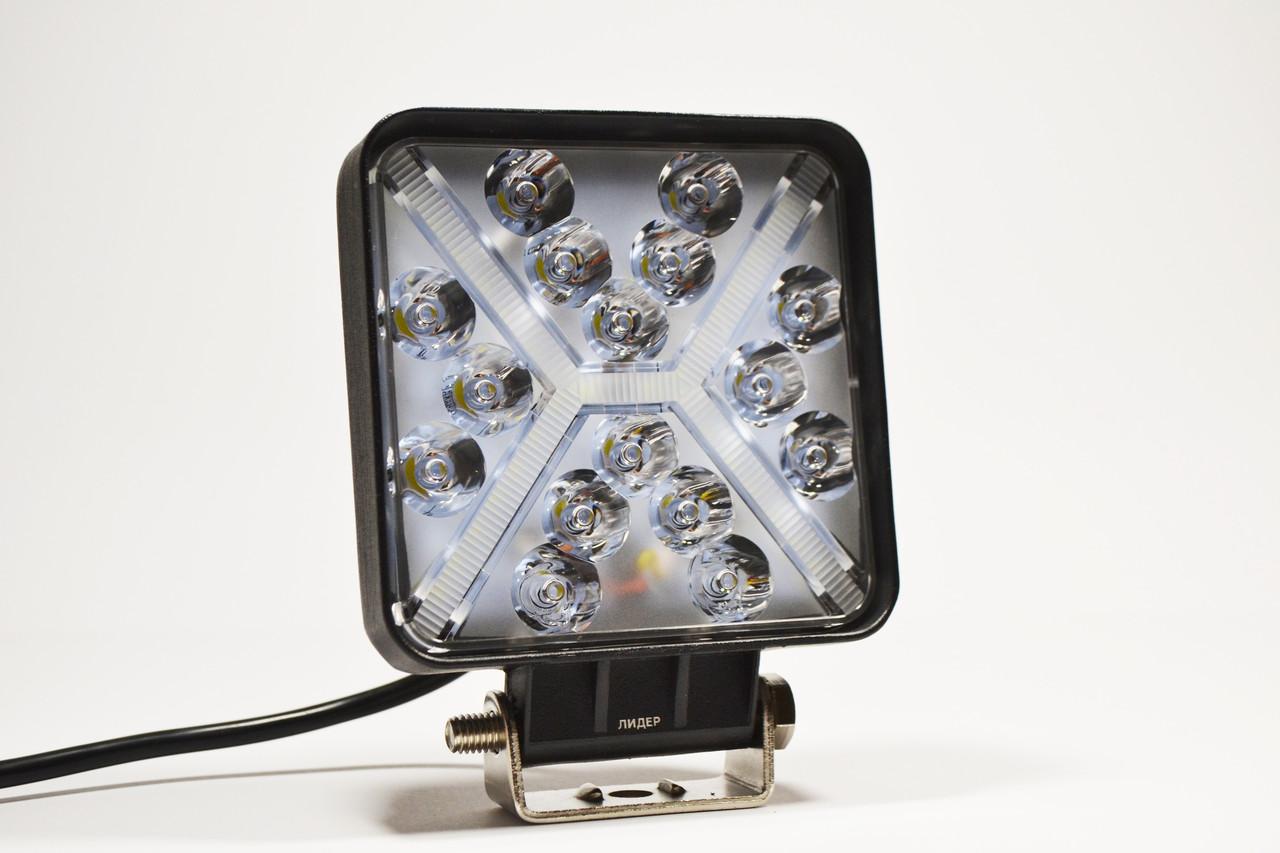 Светодиодная LED фара рабочая 48Вт,(3Вт*16ламп) + Поворотник желтый