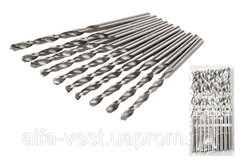 Сверло для металла Р6М5  3,0 мм белое MASTERTOOL 10-1030