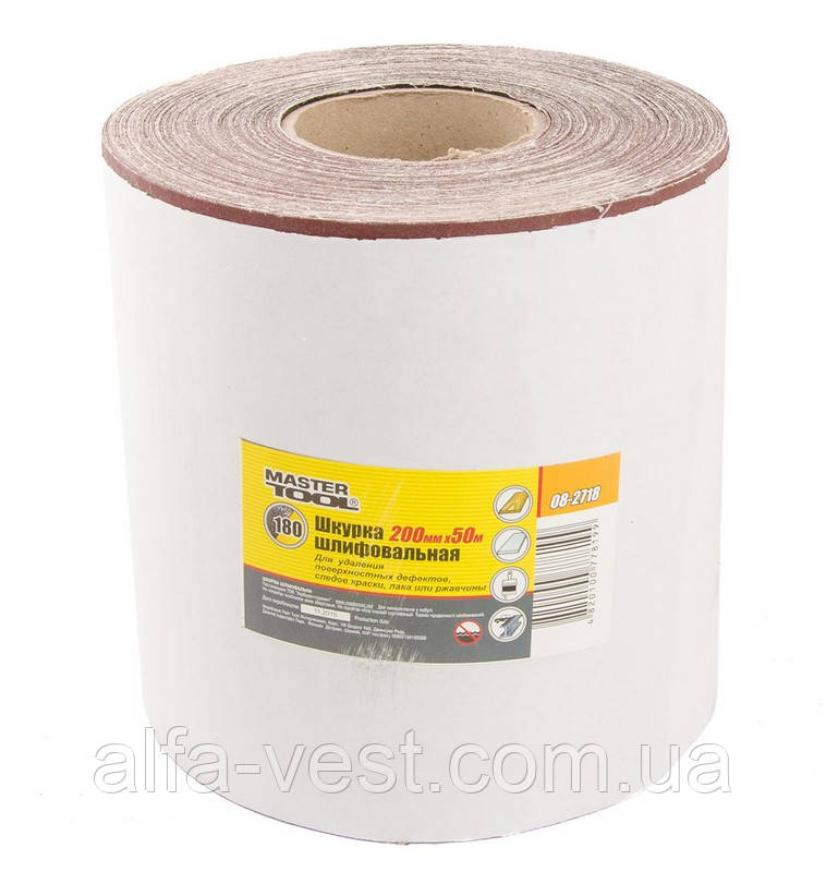 Шкурка шлифовальная на тканевой основе Р180 200 мм*50 м MASTERTOOL 08-2718