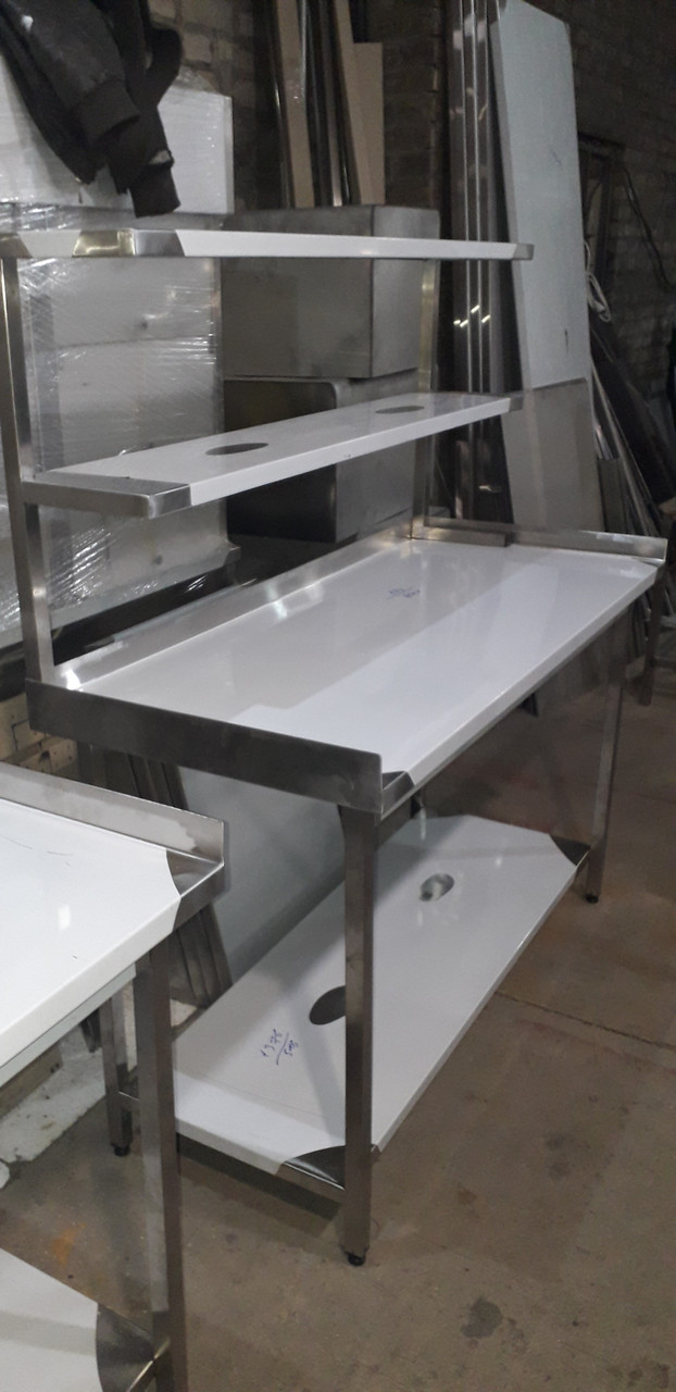 Стол с надстройкой 2х ур. с бортом и 2 полками  1200х600х850