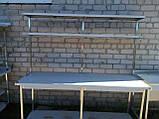 Стіл з надбудовою 2 ур. з бортом і 2 полицями 1200х600х850, фото 8