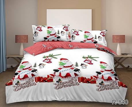 Новогоднее постельное белье Санта комплект семейный, фото 2