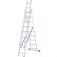 Лестница 3 х 9 ступеней алюминиевая трехсекционная Сибртех 97819