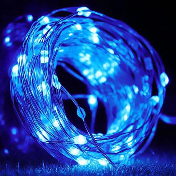 Светодиодная гирлянда нить на 100 Led Капли росы 10 м на батарейках Синяя.