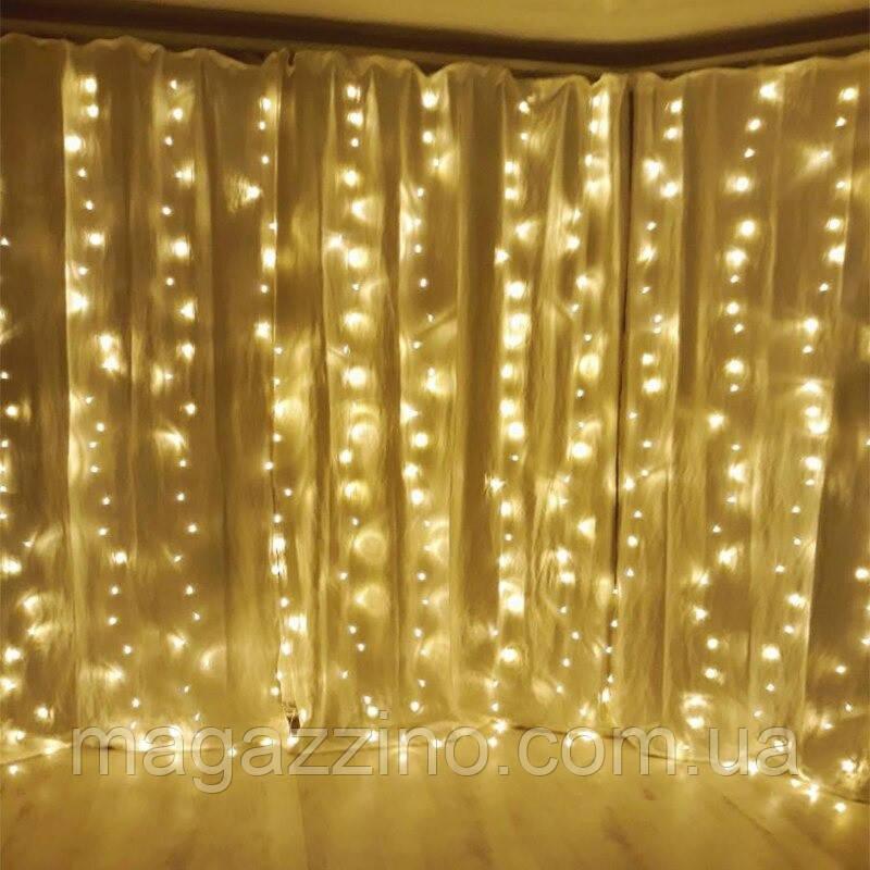 Гирлянда Штора светодиодная, 400 LED, Золотая (Желтая), прозрачный провод, 3х3м.