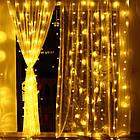 Гирлянда Штора светодиодная, 400 LED, Золотая (Желтая), прозрачный провод, 3х3м., фото 7